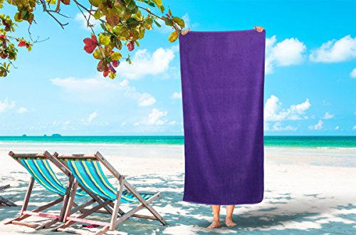 Corner4Shop Large 100% Turkish Cotton Ultra Soft Terry Velour Beach Towel Spa Bath Pool by (1, Purple) by Corner4Shop (Image #7)