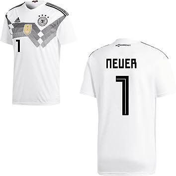 Adidas Camiseta de la selección alemana de fútbol, primera equipación, modelo del mundial de 2018, con nombre de jugador, para adulto y niño, Neuer-Feldspieler, 164: Amazon.es: Deportes y aire libre