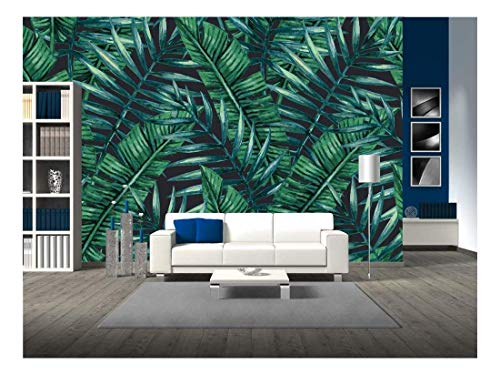 - wall26 - Watercolor Tropical Palm Leaves Seamless Pattern. Vector Illustration. - Removable Wall Mural | Self-Adhesive Large Wallpaper - 66x96 inches