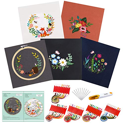 Caydo 5 Sets Embroidery Starter Kit with Pattern and Instructions, Cross Stitch Kit Include 5 Embroidery Clothes with Floral Pattern, 1 Bamboo Embroidery Hoops, Color Threads and Tools