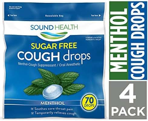 SoundHealth Sugar Free Menthol Cough Drops,Throat Lozenge,Cough Suppressant, 70 Count Bag, 4 Pack