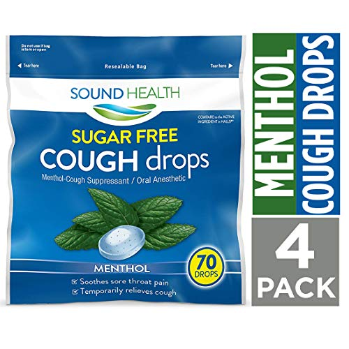 SoundHealth Sugar Free Menthol Cough Drops, Throat Lozenge, Cough Suppressant, 70 Count Bag, 4 Pack (Best Non Menthol Cough Drops)