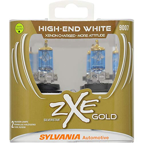 (SYLVANIA - 9007 (HB5) SilverStar zXe GOLD High Performance Halogen Headlight Bulb - Bright White Light Output, Best HID Alternative, Xenon Charged Technology (Contains 2 Bulbs))