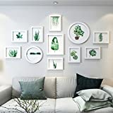Home@Wall photo frame Photo Frame Wall Set - 11 Frames Of Wood, Creative Sofa Background Wall Frame Wall Restaurant Living Room Bedroom Photo Wall ( Color : H )