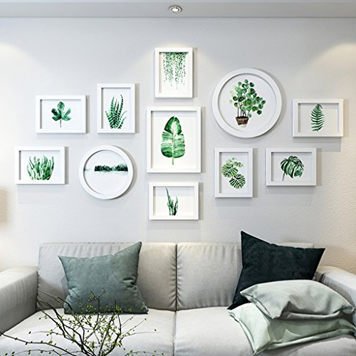 Home@Wall photo frame Photo Frame Wall Set - 11 Frames Of Wood, Creative Sofa Background Wall Frame Wall Restaurant Living Room Bedroom Photo Wall ( Color : H ) by ZGP