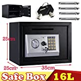 16L Electronic Digital Safe Box for Home Office Hotel Security Steel with 2 Keys 2 Locking Bolts Wall or Floor Mounted 35x25x25CM Black, 2 Year Warranty