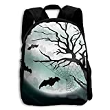 Kids School Bag Double Shoulder Print Backpacks Night Bats Moon Travel Gear Daypack Gift