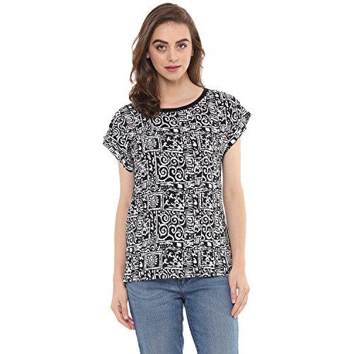 mayra Women #39;s Crepe Black Color Short Sleeve Top