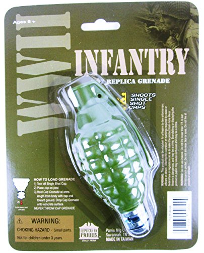 TOY HAND GRENADE infantry rocket cap bomb WWII Style metal/plastic uses gun caps For Ages 5+