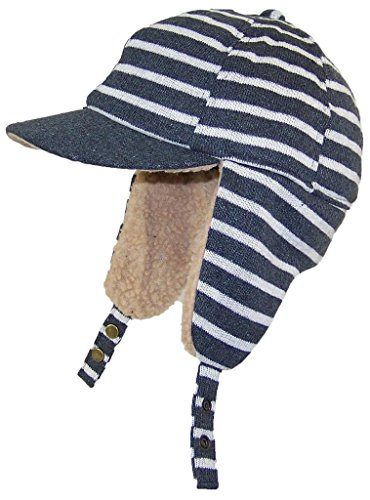 dy-striped-elmer-fudd-style-trooper-hat-w-berber-ear-flaps-visor-one-size-gray