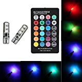 Aukora 2x T10 6SMD 5050 RGBW LED Car Interior Reading Lights Super Bright 16-Color Changing Width Lamp Wedge Side Light with Wireless Remote Control