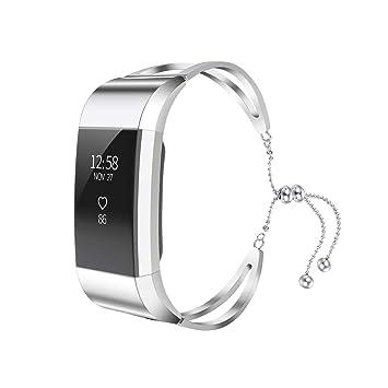 Correa para Relojes para Fitbit Charge 2, VELLAA Acero Inoxidable Pulseras de Repuesto Reemplazo Correo de Sport Banda para Fitbit Charge 2: Amazon.es: ...