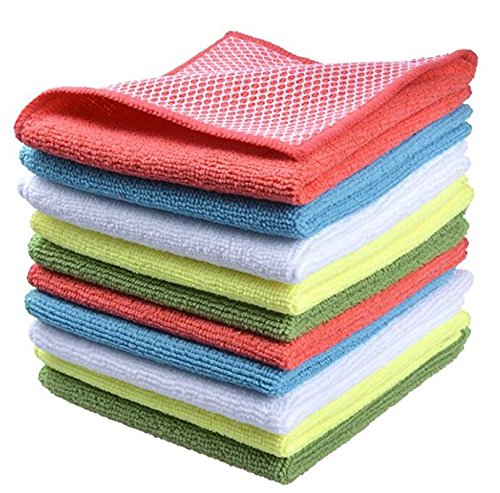 M-S Dish Cloths Microfiber Dish Cloth, Kitchen Cloth with Poly Scour Side, HIGH ABSORBENT, LINT-FREE, STREAK-FREE 12 by 12-Inch (10) Color Dishcloth Sets
