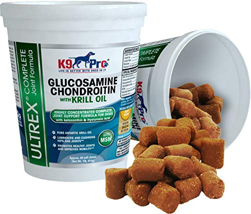 Glucosamine Chondroitin for Dogs Chewable - Dog Joint Supplement Treats Tasty Moist Chews (2 Full Months Supply) MSM Krill Omega 3 Fish Oil Astaxanthin Best Hip and Joints Treat for Your Pet