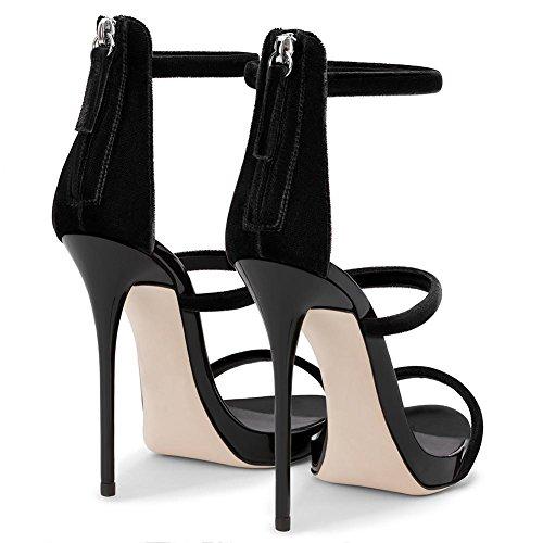 Sandalias Mujeres Black Zapatos con de Tacón Aguja YC Tamaño 2018 Señoras Más de L Sandalias Tacones Las Alto de de Las Tacón Brillante XqzwIwB5x