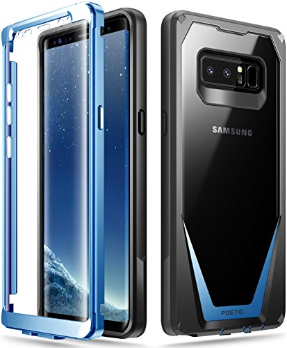Galaxy Note 8 Case, Poetic Guardian [Scratch Resistant Back] [360 Degree Protection] Full-Body Rugged Clear Hybrid Bumper Case with Built-in-Screen Protector for Samsung Galaxy Note 8 Black/Blue - Wood Guardian Pc