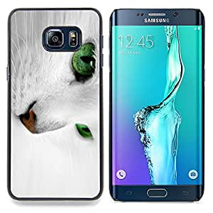 "Qstar Arte & diseño plástico duro Fundas Cover Cubre Hard Case Cover para Samsung Galaxy S6 Edge Plus / S6 Edge+ G928 (Gato blanco con los ojos verdes"")"