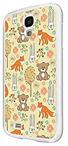 1518 casebomb - moda kwaii animales escuela sketch ilustración lindo chistosa mtong fox diseño del oso bunny para Samsung Galaxy S4 Mini cellbell caso plástico y papel fino - blanco