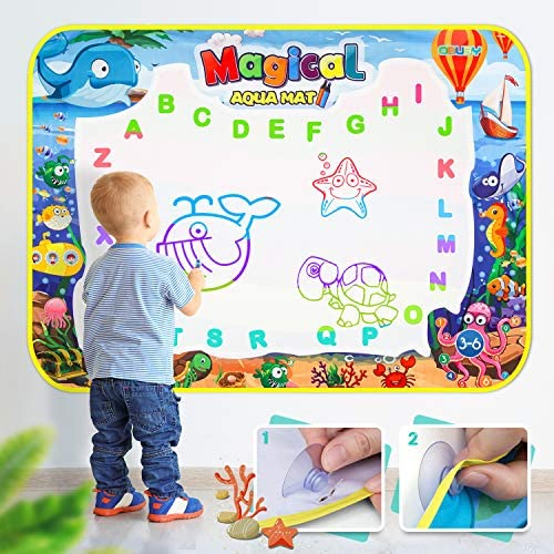 Obuby Water Magic Drawing Mat Kids 47×35 Inches Doodle Gifts Color Draw Board No Mess Coloring Painting Writing Educational Toys for Boys Girls Age 3-12 Years Old Toddler