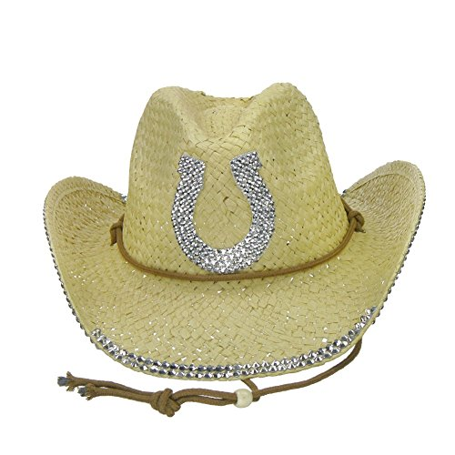 Something Special Rhinestone Bling Horseshoe Cowgirl Straw Cowboy Hat - Natural