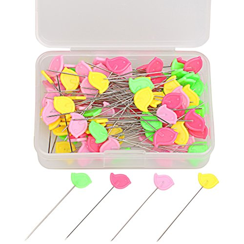 Wode Shop 100 Pieces Flat Head Straight Pins, Assorted Colors Bird Head Pins for Sewing DIY Projects with Clear Box (Colored Bird)