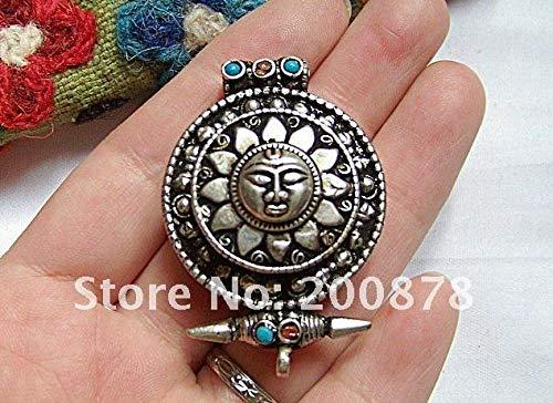 ZAMTAC TGB086 Tibetan Silver Sun God amulets Prayer Box,31mm,Nepal Antiqued GHAU Amulet Pendant,Handmade Jewelry ()