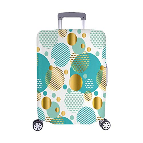 InterestPrint Luxury gold mint Polka Dots Circles Travel Luggage Cover Suitcase Baggage Protector Fits 22