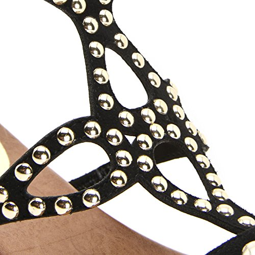 OBSEL: by Scarpe&Scarpe - Sandalias bajas con capellada perfilada y tachas, con Tacones 2 cm Negro