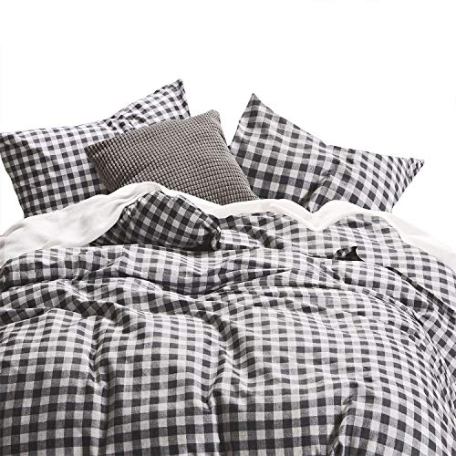 Wake In Cloud - Checker Comforter Set, Gray Grey Buffalo Check Plaid Geometric Modern Pattern Printed, 100% Cotton Fabric with Soft Microfiber Inner Fill Bedding (3pcs, Queen - Plaid Bed Comforters