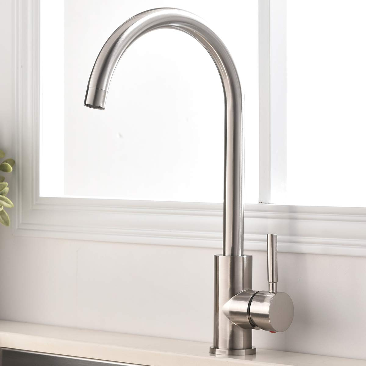 UFAUCET Contemporary High-arch Single Handle Prep Brushed Nickel Kitchen Sink Faucet,Modern Bar Sink Faucets