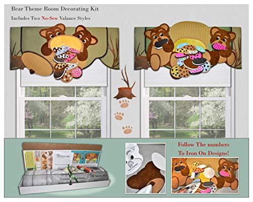 Traceable Designer Window Treatment, Children's Bear Valance, No-Sew Kids Room Decorating Kit ()