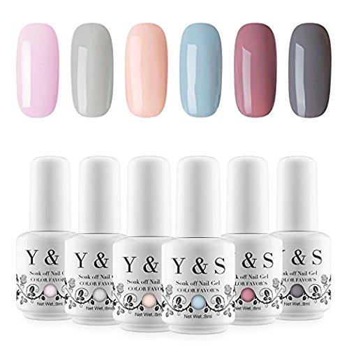 Yaoshun 6 Colors UV LED Gel Nail Polish Set Soak Off Varnish