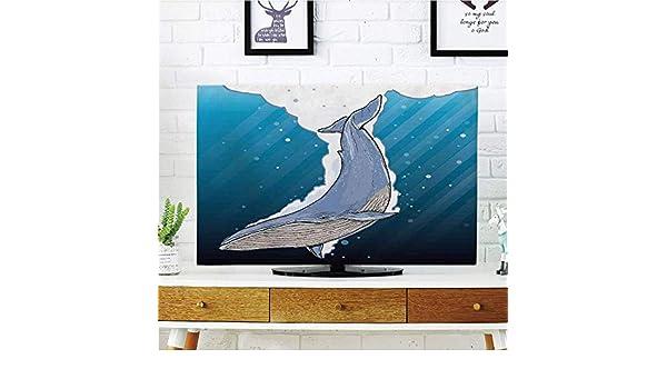 Cubierta de polvo para televisor LCD, fuerte durabilidad, decoración de ballena, linda ballena sonriente feliz negro nadando en dibujos de océano soleado ondulado, negro y azul, diseño de impresión de imagen compatible