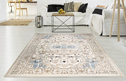 Heriz Persian Rugs Carpets - Adgo Hudson Collection Modern Persian Traditional Oriental Heriz Soft Pile Contemporary Carpet Thick Stain Fade Resistant Easy Clean Bedroom Living Dining Room Floor Rug, Ivory Blue, 4' x 6'