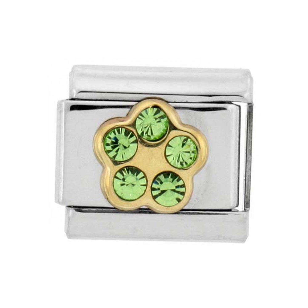 Stainless Steel 18k Gold August Birthstones Charm for Italian Charm Bracelets 5 Stone