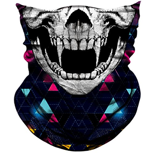 AXBXCX Skull Skeleton Outdoor Face Mask Bandana - Microfiber Polyester Seamless Headwear Dust Music Festivals Raves Ski Motorcycle Snowboard Cycling Hiking Halloween Party Cosplay Ghost Mask 037 -