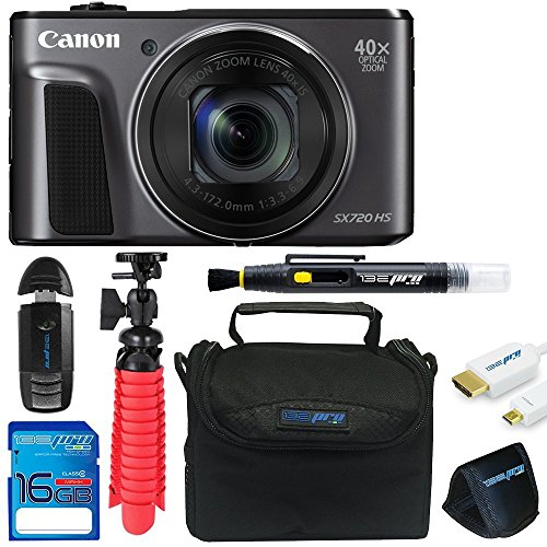 Canon Powershot SX720 (Black) + 12″ Tripod + 16GB Memory Card + Pixi-Basic Accessory Bundle