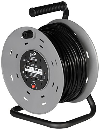(SMJ CTH5013-4SKT 50MTR 13A Heavy Duty Cable Reel with Thermal Cut-Out)
