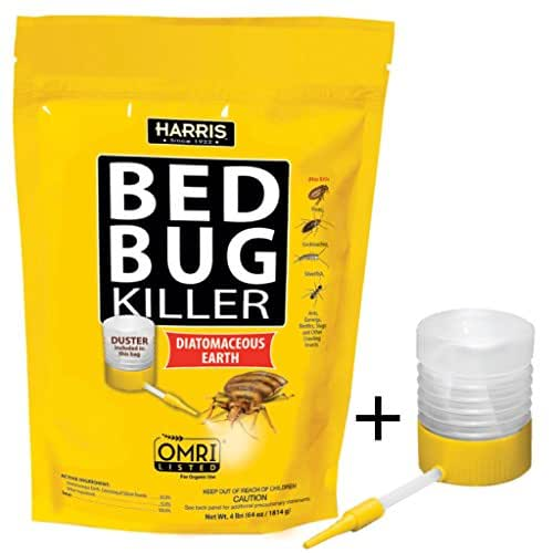 Harris Bed Bug Killer, Diatomaceous Earth Powder, Fast Kill with Extended Residual Protection (64oz w/ Duster)