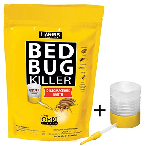 Bed Bugs Home Treatment (Harris Bed Bug Killer, Diatomaceous Earth Powder, Fast Kill with Extended Residual Protection (64oz w/Duster))