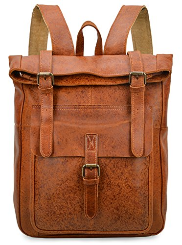 ALTOSY Vintage Genuine Leather Backpack Casual Daypack For Men (Light Brown, One_Size) by ALTOSY