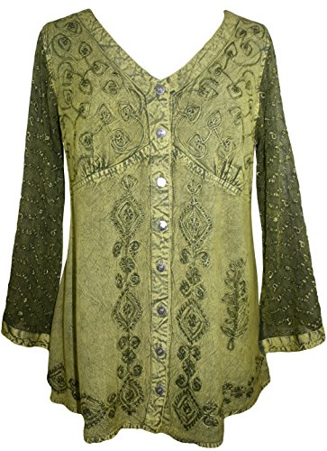 151 B Medieval Victorian Gothic Embroidered Sheer Lace Sleeve Blouse [ Lime Green; XL/1X]