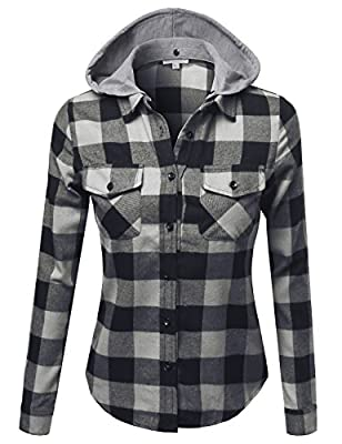 Women's Casual Plaid Long Sleeves Button-Down Flannel Shirt