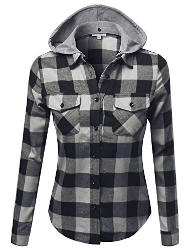 Awesome21 Womens Casual Plaid Long Sleeves Button-Down Hoodie Flannel