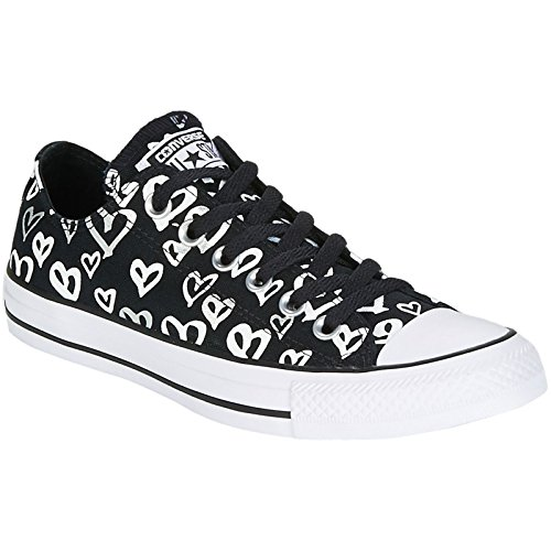 Converse Mens Chuck Taylor All Star Ox Black Silver Canvas Trainers 8 - Converse Print Cap