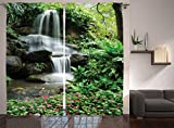 Ambesonne Waterfall Decor Collection, Waterfall Pond Flowers and Tropical Plants in Garden Pattern, Window Treatments, Living Room Bedroom Curtain 2 Panels Set, 108 X 84 Inches, Green Pink Grey Review
