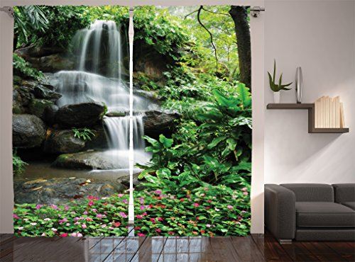Ambesonne Waterfall Decor Collection, Waterfall Pond Flowers and Tropical Plants in Garden Pattern, Window Treatments, Living Room Bedroom Curtain 2 Panels Set, 108 X 84 Inches, Green Pink Grey (Tropical Style Living Room)