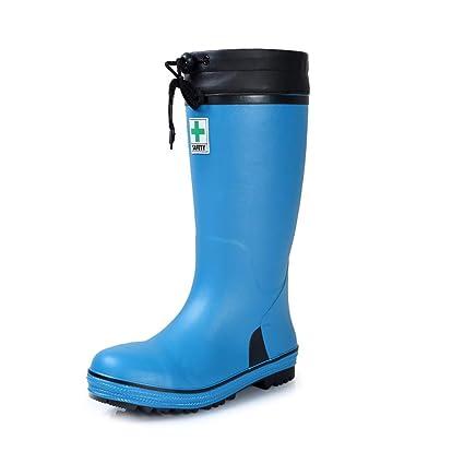 Hunter Boot Botas de Lluvia Male High Tube Steel Head Anti Smashing Zapatos de Seguridad Zapatos