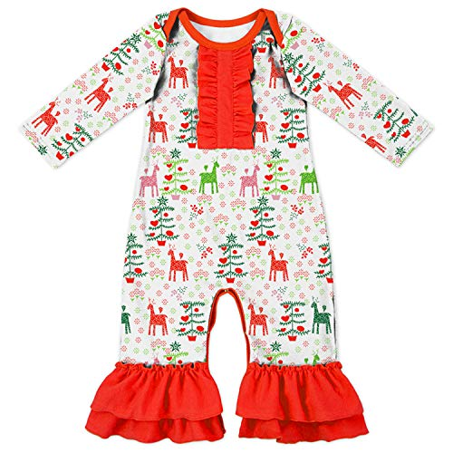 Boutique Christmas Pajamas (Baby Infant Girls Merry Christmas Happy Holiday Bodysuit Romper Red Reindeer)