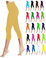 Lush Moda Seamless Capri Length Basic Cropped Leggings - Variety of Colors